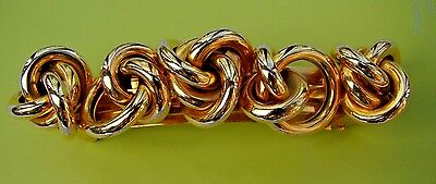 Vintage Kirks Folly Made In France Gold Tone Love Knots  Hair  Barrette