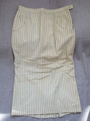 Vintage 1960's Evan Picone Striped Pencil Skirt Light Blue And White