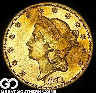 1871 Double Eagle, $20 Gold Liberty, PL Look, Tough BU++ Better Date, Free S/H!