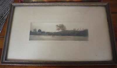 Antique Etching/Pen Ink Mussell Shaols Landscape Pencil Signed by Artist Framed