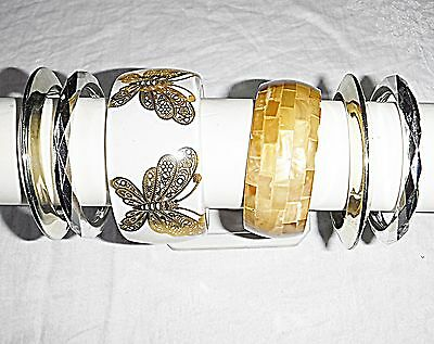 *vintage Retro Lucite Plastic Honey Gold Silver Bangle Collection 6 Stylish Chic