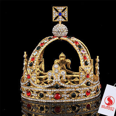 5 Inch Height Gold  Plated Royal King  Queen Crystal Full Round Tiaras Crown