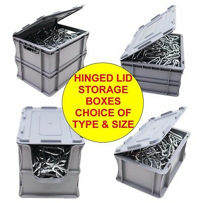 NEW Heavy Duty Industrial Type Plastic Euro Storage Box Boxes With Hinged Lid