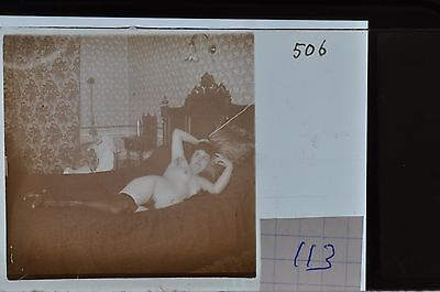 Stereoscopic Photography  Nude  , Glass Stereo Slide , 1905 Aprox.   N. 113