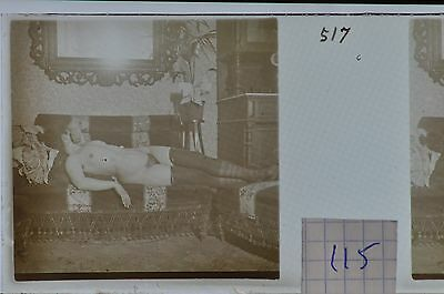 Stereoscopic Photography  Nude  , Glass Stereo Slide , 1905 Aprox.   N. 115