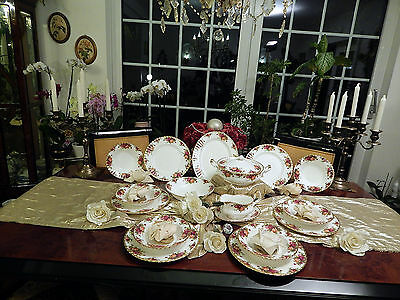 edles Speiseservice Royal Albert England Old Country Roses mit Suppenteller top