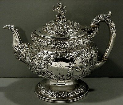 Kirk Silver Teapot   CHINESE          WEIGHS 44 oz                      c1835