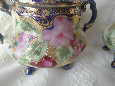 Incredible Antique Handpainted  Floral and Gilt Sugar and Creamer
