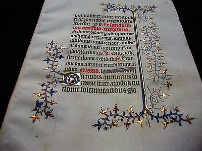 """1370 Medieval Vellum, AMAZING Latin Leaf """"GOLD RAMIFICATIONS"""" Book of Hours..S68"""