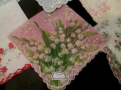 lot of 6 Vintage NYLON floral hankies, Lily of the Valley , unused