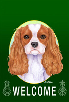 Large Indoor/Outdoor Welcome Flag (Green) - Cavalier King Charles Spaniel 74055