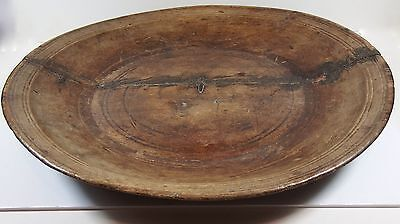 Rustic Antique c1800 Large Wooden Dough Bowl Lovely Patina