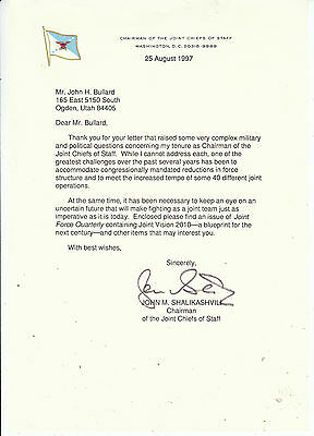 JOHN M. SHALIKASHVILI SIGNED 1997 Joint Chiefs of Staff Chairman Letter