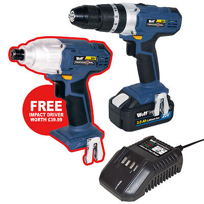 WOLF 20v Lithium Li-Ion Combi Hammer Drill Driver Cordless FREE Impact Driver