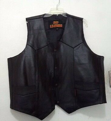 Men's Leather Harley Davidson Motorcycle Vest Size 2Xl Made By Hot Leathers