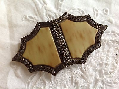 Antique Metal Marbled Celluloid Belt Buckle Made In Czechoslovakia Jewelry Vtg