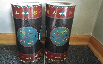 Old Antique Japanese Cloisonne Over Porcelain Matching Pair of Vases