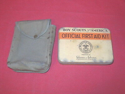 1S Vintage BSA Boy Scouts Of America Official First Aid Kit Tin Contents Pouch!