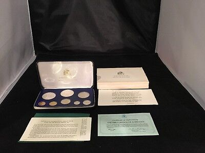 1980 Barbados Proof Set Franklin Mint Nice Complete With COA