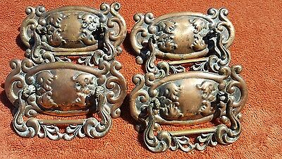 4 Victorian Pressed Brass Drawer Pulls w Cast Brass Bails Antique Bureau Dresser