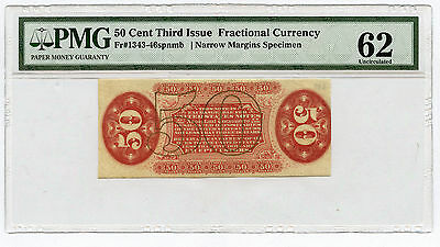 50 Cent Third Issue Fractional Narrow Margin Specimen Fr 1343-46spnmb  PMG MS 62