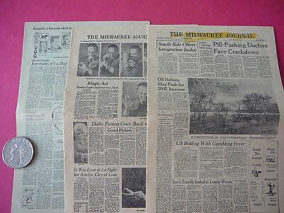 Vintage 1976 Collectible Mini Milwaukee Journal With Green Sheet
