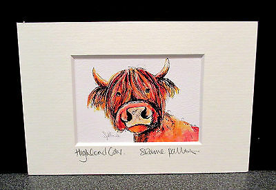 Highland Cow.  Mini art print from an original painting by Suzanne Patterson.XX