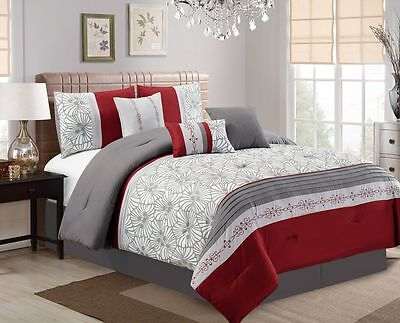 11 Piece Flora Print Burgundy/Gray/Ivory  Bed in a Bag Set