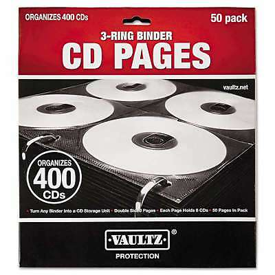Vaultz® Two-Sided CD Refill Pages for Three-Ring Binder, 50/Pack 826030014158