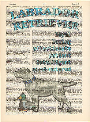 Labrador Retriever Dog Traits Altered Art Print Upcycled Vintage Dictionary Page