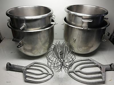 Four Hobart Mixing Bowls w/ Whisk and Two Paddles