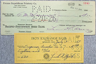 2 different old bank checks California 1920's and Wisconsin 1950's nice used
