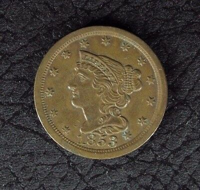 1853 Braided Hair Half Cent 1/2C Au About Uncirculated