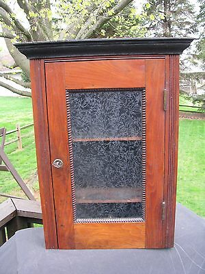 ANTIQUE ONE DOOR CABINET wth ORIGINAL LOCK & KEY / HANGING CABINET / WALNUT
