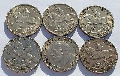 6 x HIGH GRADE GEORGE V 1935 SILVER CROWN COINS - LOT 17