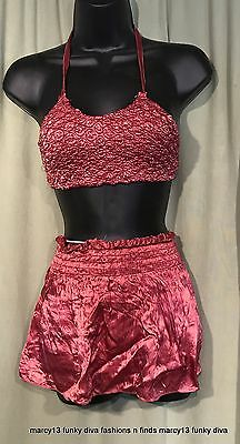 Vintage 40's Elastic Satin 2 Pc Rose Pink Skirt Swimsuit Bust 20-26, Waist 17-28