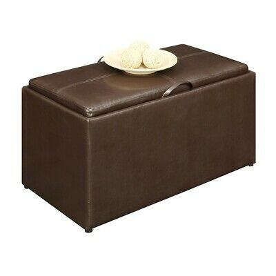 Convenience Concepts Designs4Comfort Sheridan Bench, 2 Ottomans, Brown - 143012