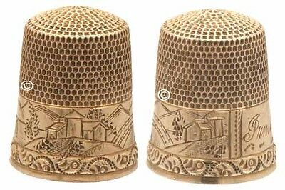 Antique 14K Gold Thimble, Scenic 'Irina' *C.1860s