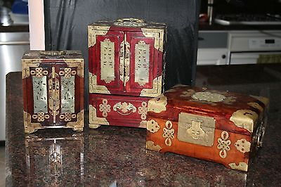 3 Antique Chinese Wood Brass Jade Jewelry Chest Boxes with Locks