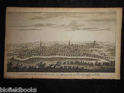 Southwest View of Northampton in Northamptonshire c1750 - Rare Antique Engraving