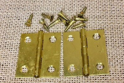 "2 small door butt hinges solid brass screws 1 1/2 x 1 1/4"" jewelry box vintage"