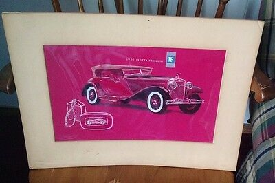Hand Drawn Colored Picture 1930 Isotta Fraschini  Prototype Art