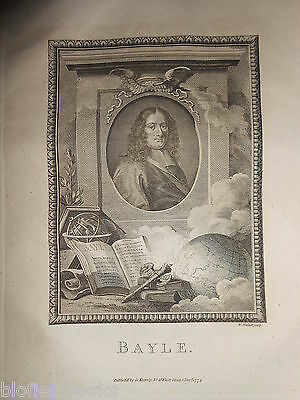 Original Georgian Portrait Engraving of Pierre Bayle 1774 -  French Philosopher