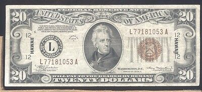 series 1934A VF-XF $20 HAWAII Federal Reserve Note  No holes, tears or ink.
