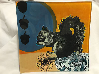 Black Thistle - Square Glass Plate With Squirrel, Acorns, Abstract