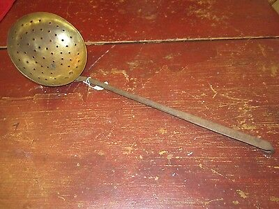 Vintage 19th Century Wrought Iron and Brass Skimmer Strainer #1