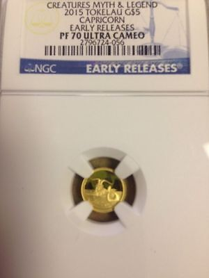 2015 Tokelau $5 Dollar Capricorn Early Releases Gold Coin. Pf 70 Ultra Cameo.