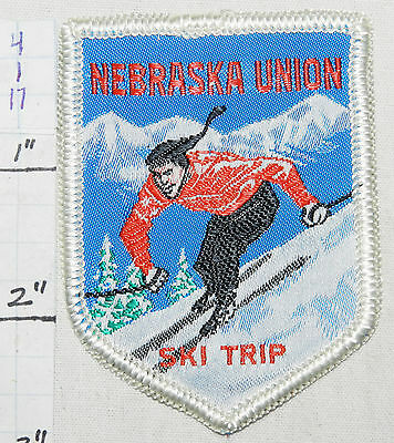NEBRASKA UNIVERSITY  SKI TRIP UNION WOVEN VINTAGE 1960's ERA PATCH