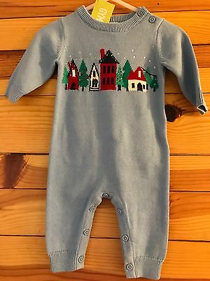 NWT GYMBOREE UNISEX Boys Girls HOLIDAY SHOP Row Houses Sweater Romper 0-3 Months