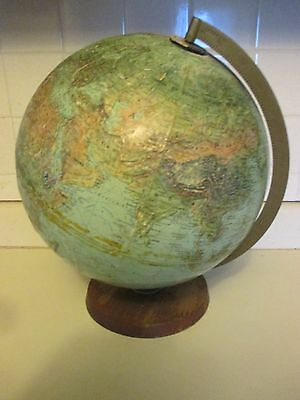 "Vintage 12"" Wood Base The World Book Hlobe Replogie Globe"